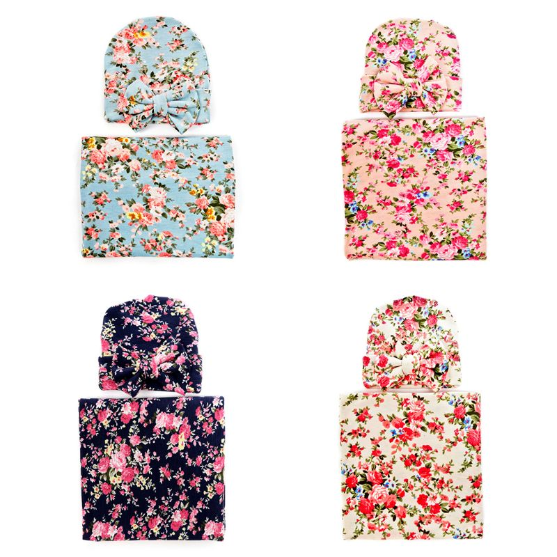 2 Pcs/set Newborn Printing Wrapping Blanket Hat Baby Kids Bow-knot Cap Swaddle Wrap Set Infants Gifts