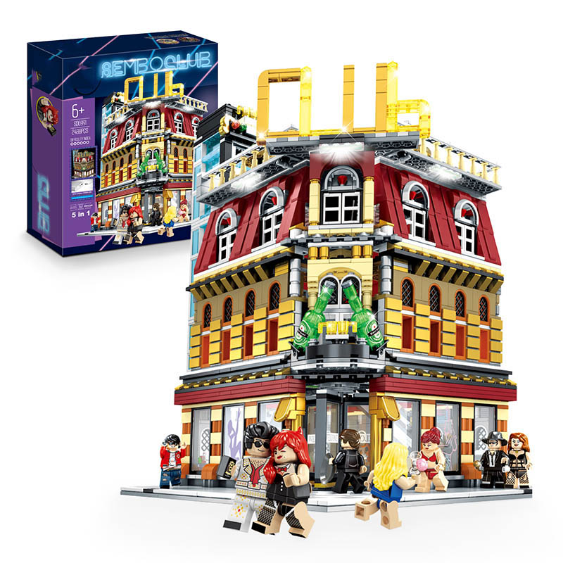 Yeshin 15002 Street Building Toys The SD6991 NightClub 5 in 1 Set with USB Led Light