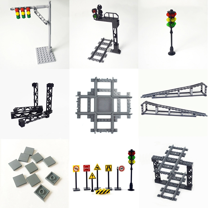City Train Tracks mini signs signal lamps Model trein Track Rail Road traffic lights Rails Building Block Compatible All Brands