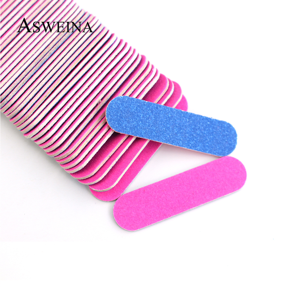 50/100 Pcs/lots Double-side Nail Files Mini Buffers Tools DIY Sandpaper Nail Tips Pink Blue Sanding Professional Nail Art Tools(China)