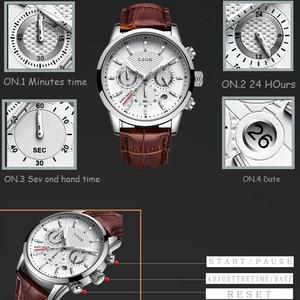 Image 5 - LIGE แบรนด์หนังสีน้ำตาลกันน้ำ Luminous Dial Chronograph นาฬิกาสุดหรูควอตซ์ทหารกีฬาผู้ชายนาฬิกา Reloj Hombre