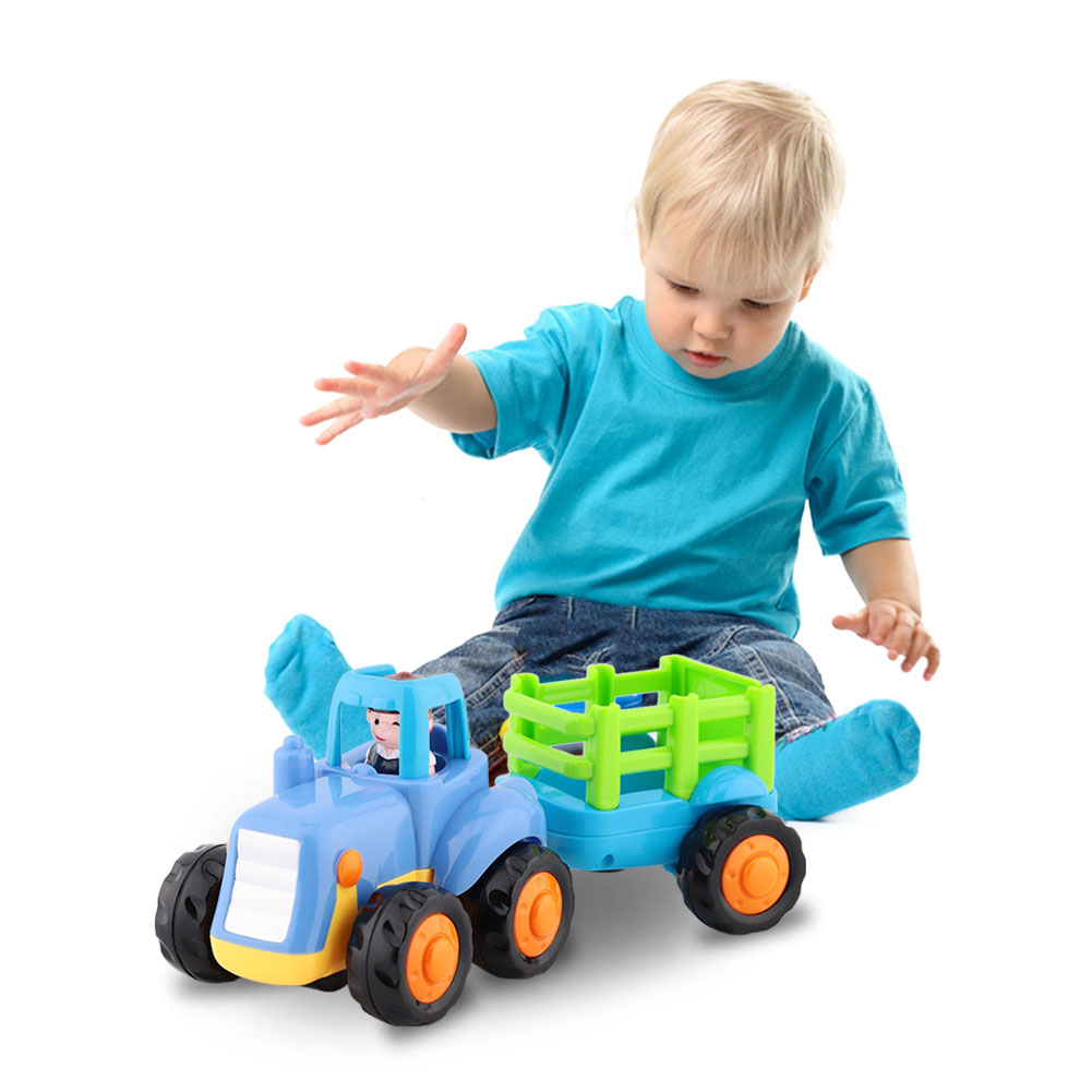 Free Shipping Baby Truck Toy Tractor Model Platform Truck New Holland Tractors Alloy Trailer Kids Toys Farm Transporter Traktor