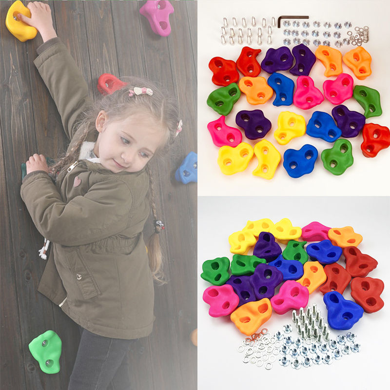10 Pcs Plastic Rock Climbing Toy Indoor Outdoor Wall Stone Toys For Children Hand Feet Holds Grip Kits Safe Climbing Rock Set