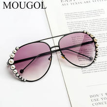 MOUGOL Personality Pearl Sunglasses Women Fashion Driving  Ocean Sheet Glasses
