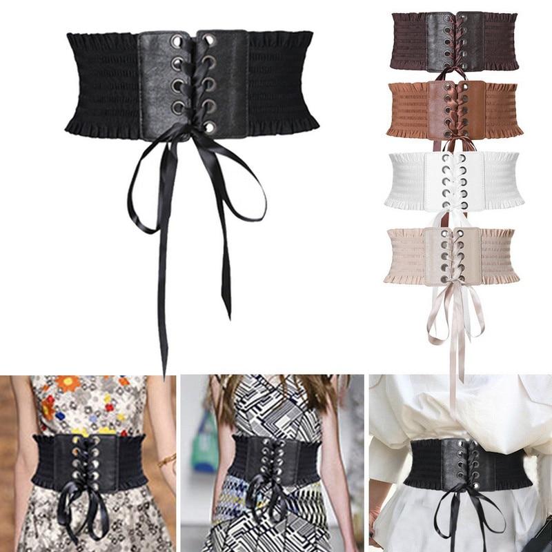 Soft PU Leather Women Ladies Wrap Around Tie Corset Cinch Waist Wide Dress Belt