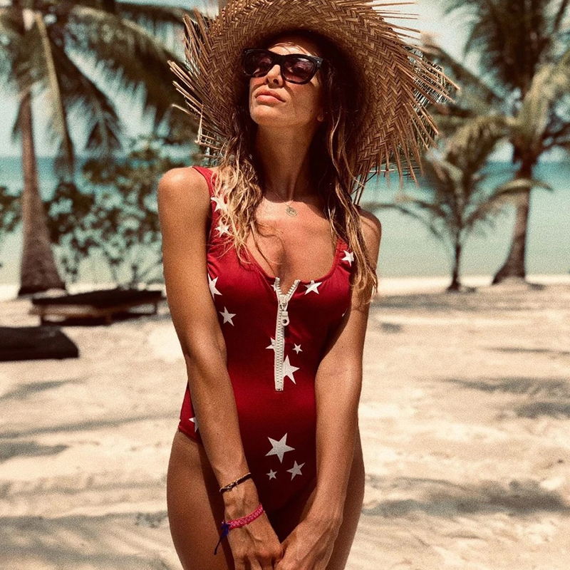 2020 New Sexy Zipper One Piece Swimsuit Women Swimwear Push Up Monokini Bodysuit Swimsuit Print Bathing Suit Summer Beachwear XL 5