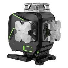 Huepar s04cg com estojo rígido, função de bluetooth & modo de pulso ao ar livre 4d feixe verde linelaserlevel,16 linha nível laser