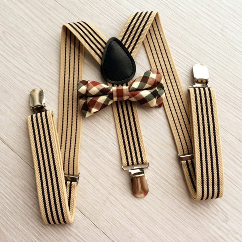 2Pcs Baby Girls Boys Clothes Accessories British Style Kids Striped Strap + Plaid Bow Tie Kit Fashion 130cm