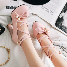 Rimocy lovely women pink bowtie ankle strap pumps 2019 spring high platform square heels