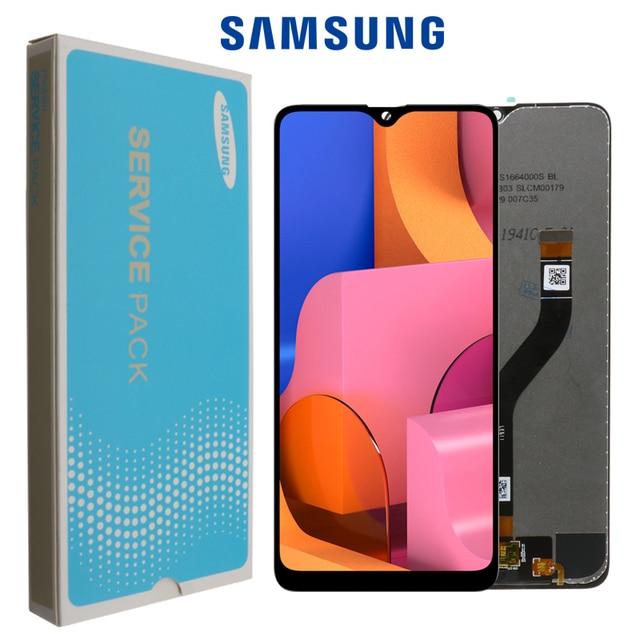 100% Оригинальный дисплей 6,5 дюйма для SAMSUNG Galaxy A20s, ЖК дисплей с дигитайзером сенсорного экрана и рамкой, замена на модуле, с модулем, для SM A207F