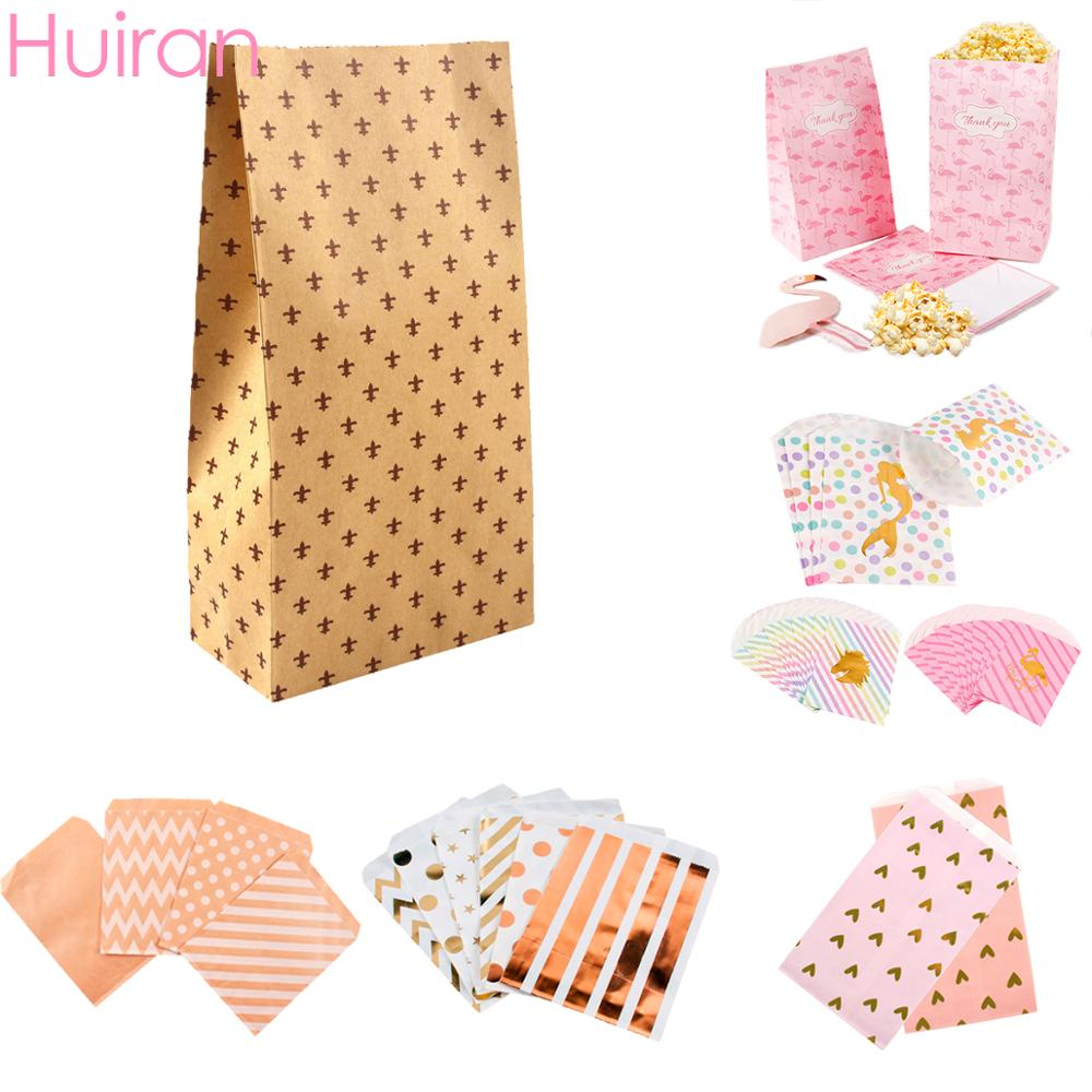Huiran 8/10/25 PCS Kraft Paper Gift Bag Small Wedding Candy Box Goodie Bags Popcorn Box Printed Paper Treat Bags Birthday Party