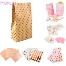Huiran 8/10/25 PCS Kraft Paper Gift Bag Small Wedding Candy Box Goodie Bags Popcorn Box Printed Paper Treat Bags Birthday Party