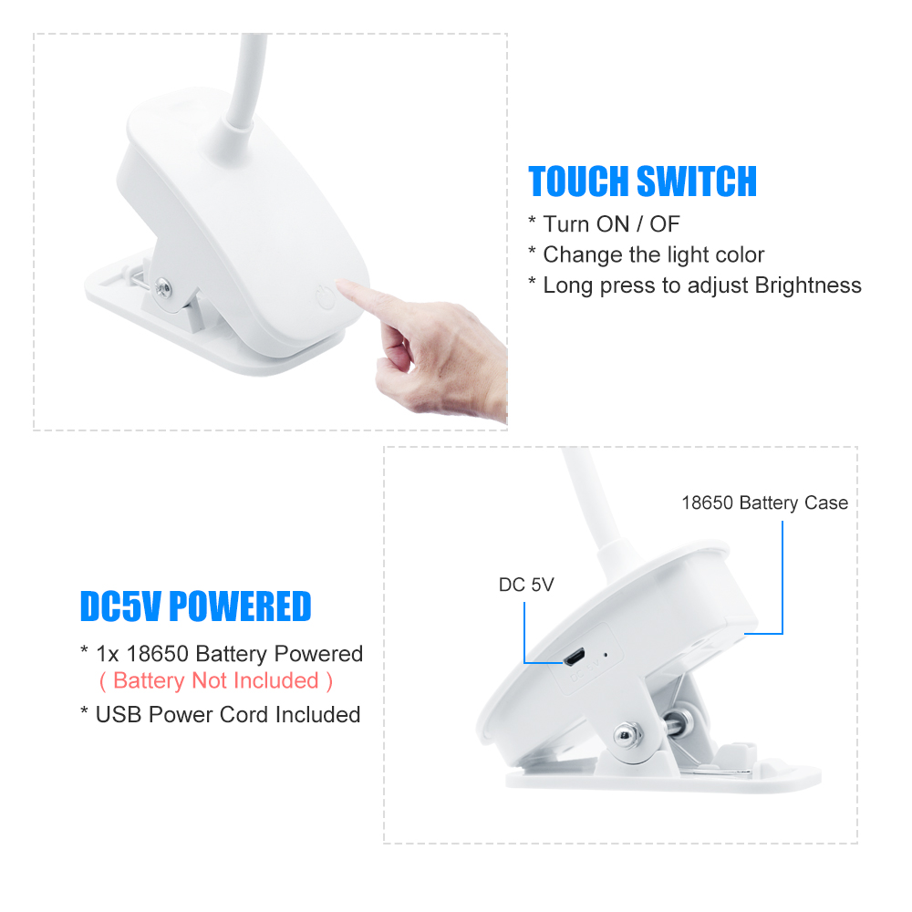 Dimmable Touch Switch LED Desk Lamp USB