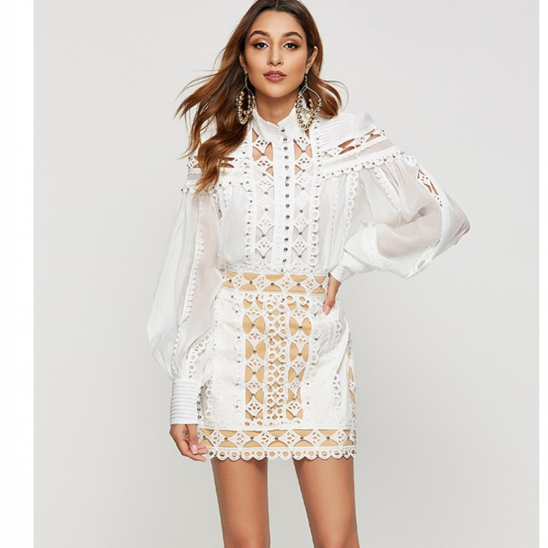 New Arrival Runway Sweet Elegant Vintage Blouses Embroidery Shirt Women Hollow Out Beading Lantern Sleeve Fashion Blouse Top