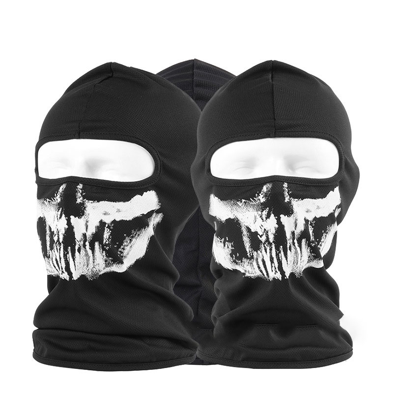 1pc Cool White Skull Ghost Pattern Balaclava Cool Fashion Casual Mouth Face Mask Head Cover Unisex Adult Face Mask Cover Outdoor