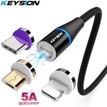 Магнитный кабель KEYSION 5A, кабель Micro USB для Samsung TypeC, шнур для быстрой зарядки для Xiaomi Huawei, Магнитный зарядный кабель для iPhone