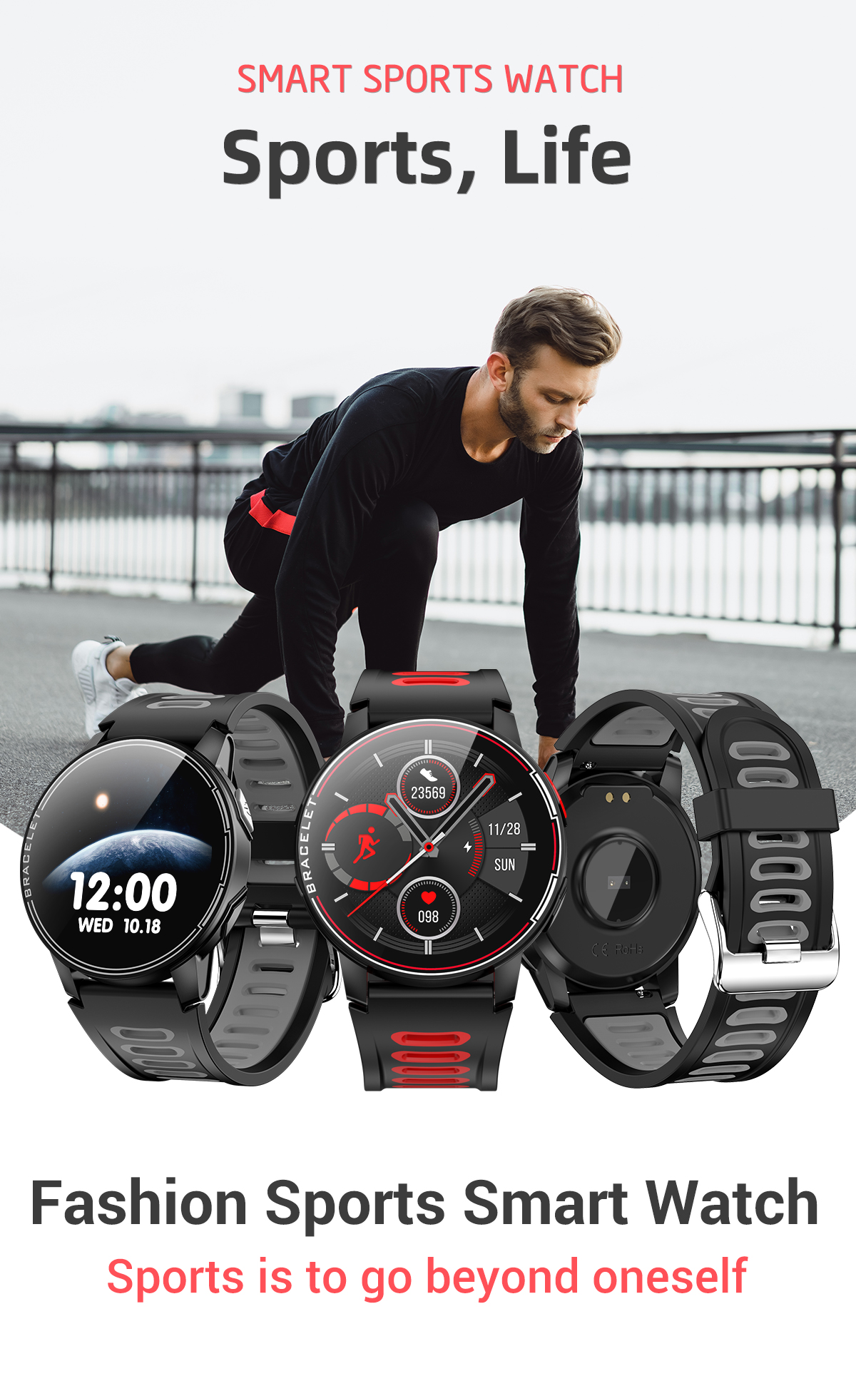 H5c369562c2bb43ad8387665641cb1459j 2020 New L6 Smart Watch IP68 Waterproof Sport Men Women Bluetooth Smartwatch Fitness Tracker Heart Rate Monitor For Android IOS