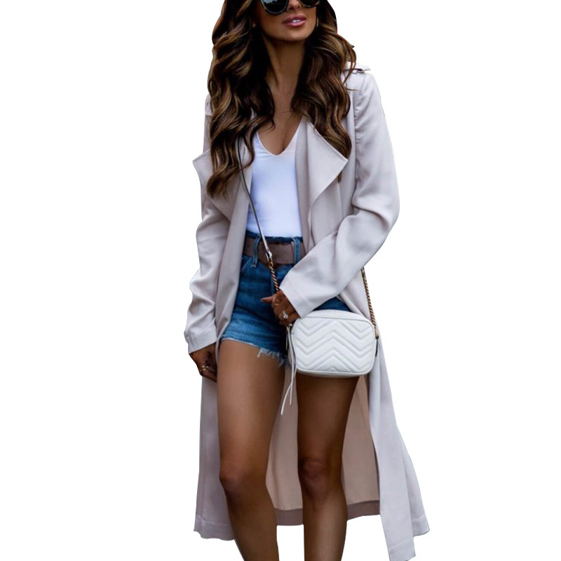 Fashion Womens Casual Lapel Collar Trench Windbreaker Overcoat Duster OL Ladies Long Sleeve Straight Type Coat Jacket Tops