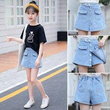 Summer Kids Short Denim Shorts For Girls Fashion Short For Teens Princess Jeans Children Pants Girls Culottes Girl Clothes 4-15Y