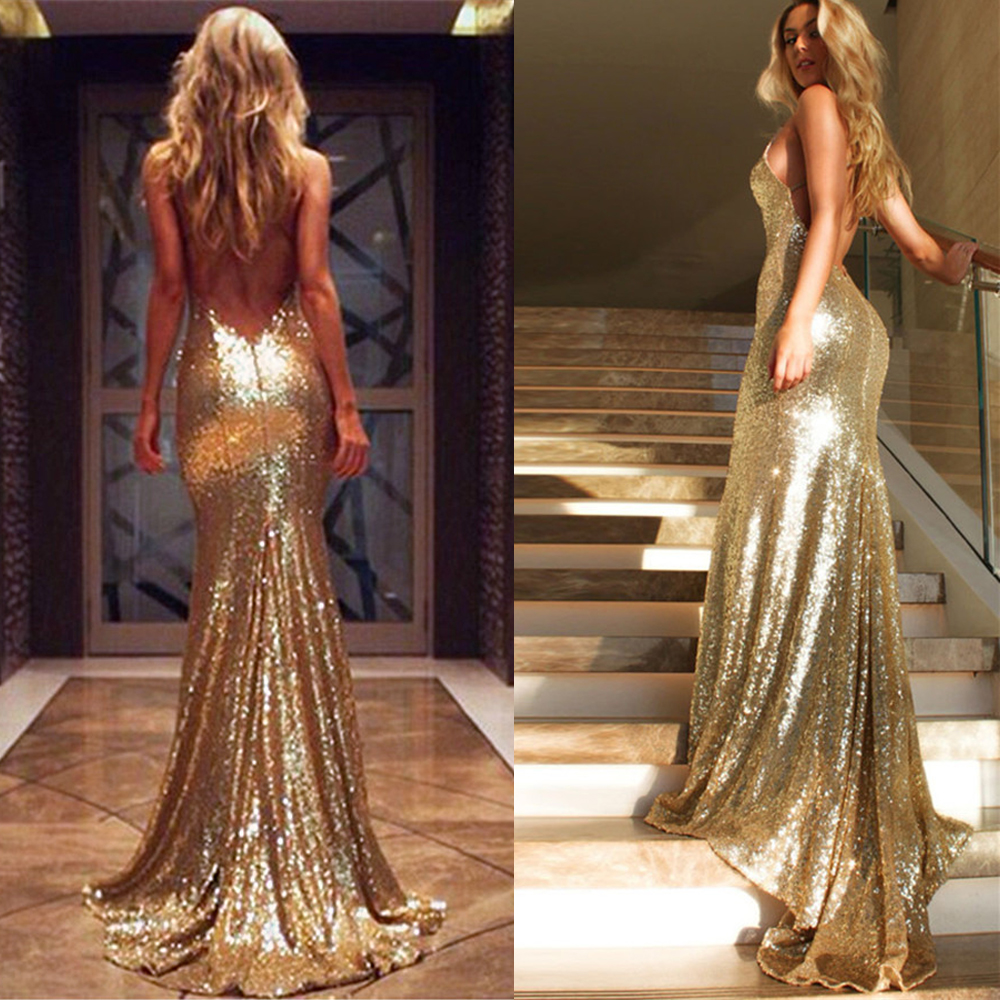 US $12.12 12% OFFIndische Abendkleider Lange Gold Pailletten Prom Kleider  Günstige Mermaid Backless Party Kleider Importierte China Robe de Soiree