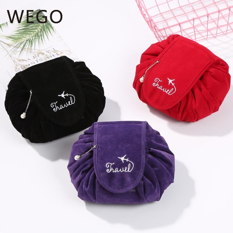 Flannel Cosmetic Bag Lazy Wash Drawstring Bag Cosmetic Plush Storage Bag Travel Shrink Cosmetic Bag Winter Autumn