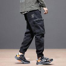 Fashion Streetwear Men Jeans Black Color Loose Fit Big Pocket Denim Cargo Pants Slack Bottom Joggers Japanese Hip Hop