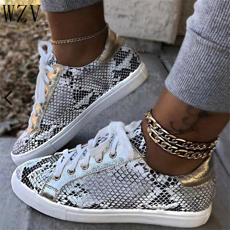 Female Sneakers Fashion Casual Platform Woman  Lace Up Flat Shoes Women Serpentine Prints PU Leather Vulcanized Shoes Size38-43