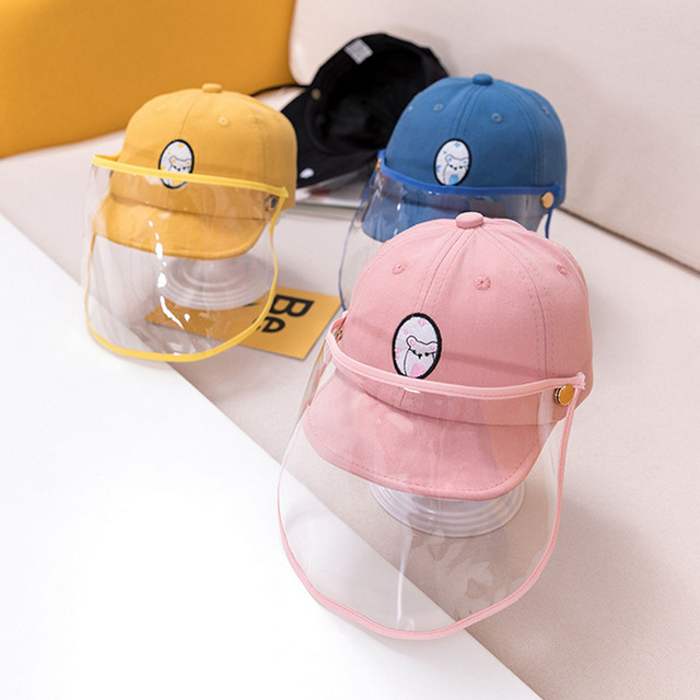 Cute Cartoon Detachable Anti Spitting Saliva Dust Hat Baseball Sun Protection Cap with Face Shield for Kids Children 4
