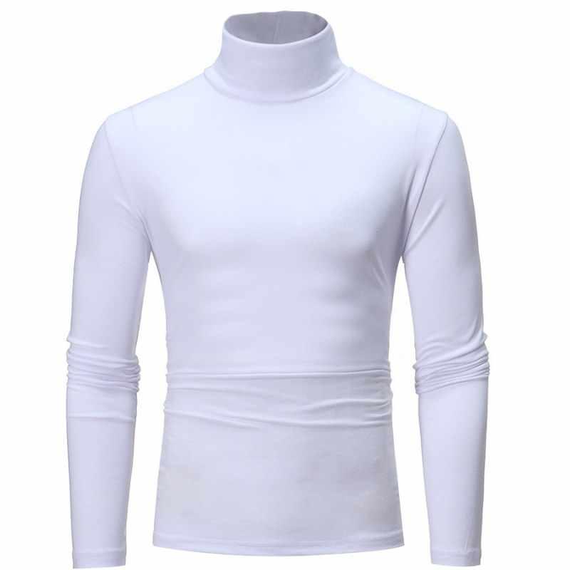 Jesienno-zimowa męska sweter swetry wysoki kołnierz z długimi rękawami jednolity kolor w stylu basic slim Warm Jumper Femal
