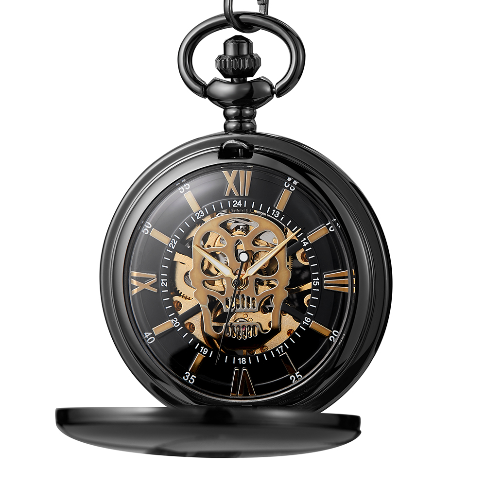 Retro Skull Pocket Watch Mechanical Hand Winding Steampunk Skeleton Watch Fob Chain Necklace Pendants Roman Numerals Dial Clock