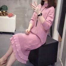 2019 Autumn Women Big Size Pleated Hem Knit Dress Long Sleeve Mandarin Collar Loose Sweater Dress chevron hem ringer texture knit sweater