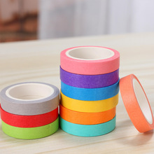 10pcs Cute Rainbow Paper DIY Washi Tape Stickers Solid Color Masking Washi Sticky Paper Tape Adhesive Printing DIY Scrapbooking