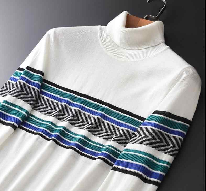 양모 남자 럭셔리 명암 컬러 스트라이프 터틀넥 남성용 스웨터 가을 겨울 자카드 스웨터 남성 플러스 사이즈 4XL