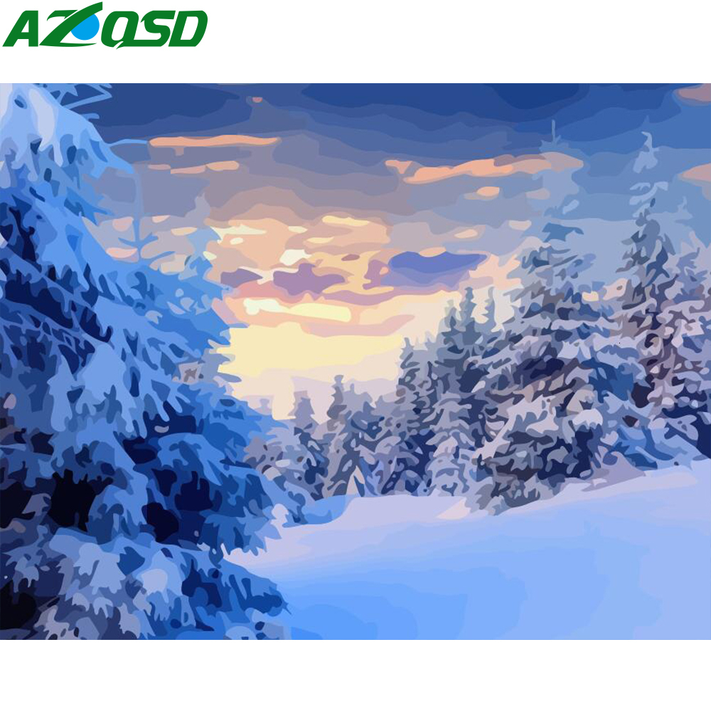 AZQSD Paint By Number Canvas Painting Kits Winter Landscape Unframe DIY Handmade Gift Oil Painting By Numbers Tree Decoration