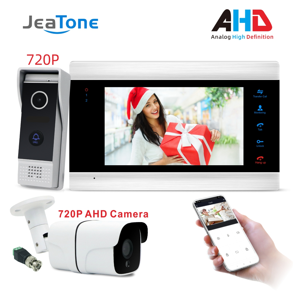 WiFi Smart IP Video Door Phone Intercom System Door Speaker 720P AHD Out Call Panel+7 Inch High HD Monitor +720P AHD Camera