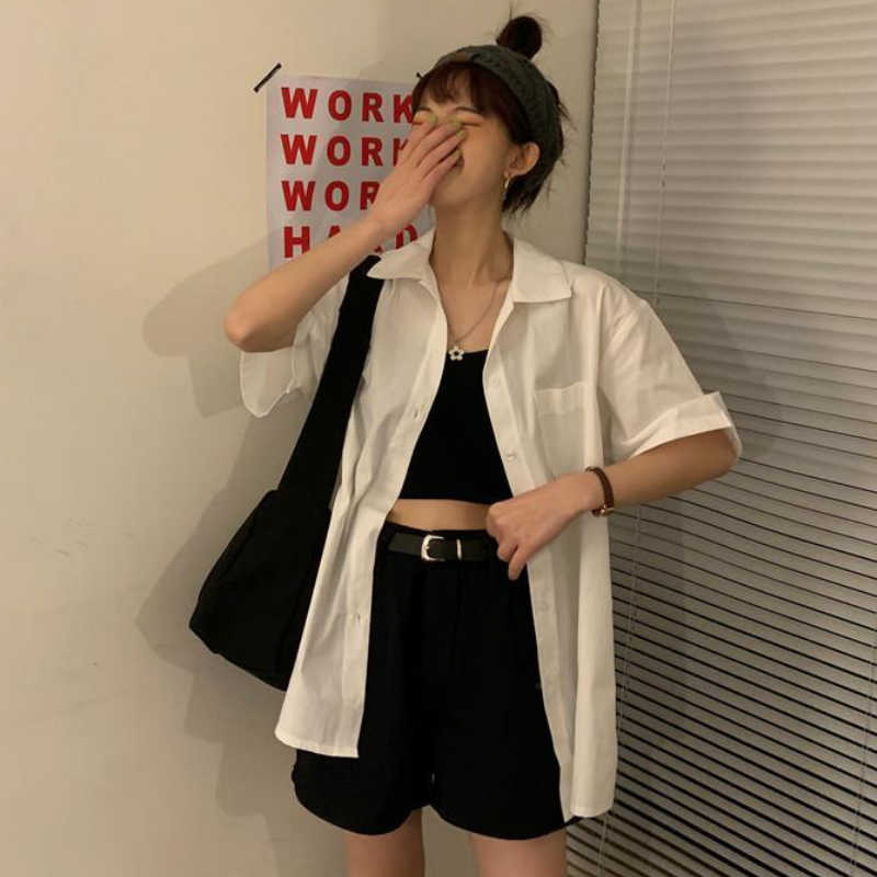 Gömlek kadın kısa kollu bluzlar katı Bf boy gevşek Turn Down yaka koleji basit bayan tüm maç Harajuku 2020 yaz