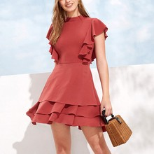 New 2019 Summer Dress Red Simple Vintage Style Slim Ruffled Womens Sleeveless Round Neck