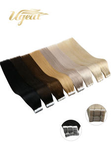 Ugeat Human-Hair-Extensions Silky Tape-In Brazilian-Hair Remy Real Skin-Weft Seamless