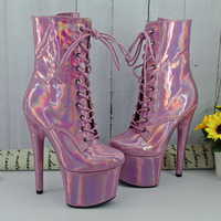 Leecabe 17cm/7Inch Shinny Laser PINK Women's Platform Sandals Pole Dancing shoes High Heels Shoes professional pole dance boot