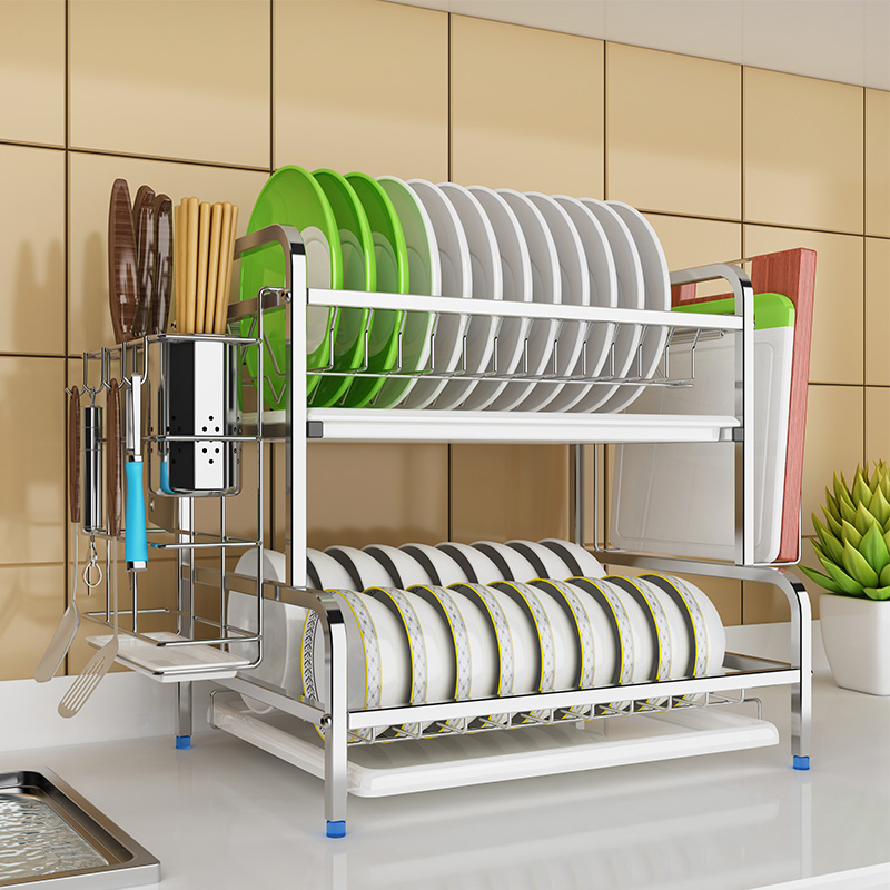 2 Layers 304 Stainless Steel Kitchen Dish Drying Rack Dishes Bowls Drain Rack Storage Shelf Rack Kitchen Tools Heavy Bearing
