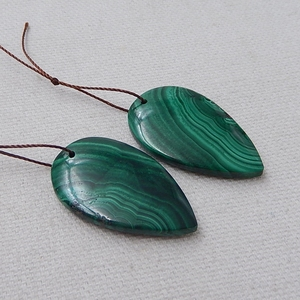 Image 3 - Water Drop Green Color Semi Finished Products Natural Stone Malachite Handmade Earrings For Women 33x20x5mm 14.7g