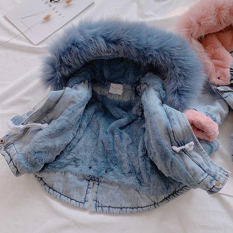 ULKNN 2019 חורף תינוקת ג 'ינס מעיל בתוספת קטיפה אמיתי פרווה חם פעוט ילדה הלבשה עליונה מעיל 1-4 שנים ילדים תינוקות ילדה Parka