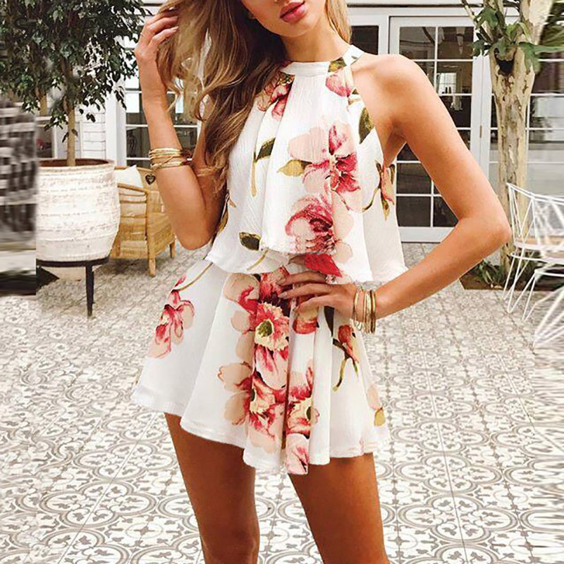 Boho 2 Pieces Sets 2020 Summer Women Sexy Halter Sleeveless Shirts Floral Printed Female Crop Tops & Shorts 2 Pieces Suits GV456