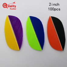 New 100pcs 2 Real Turkey Feather Water Drop  Cut Arrow Fletching Hunting Shooting Diy Accessories