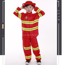 Kids Firefighter Jassen Kinderen Brandweerman Cosplay Uniform Halloween Rollenspel Kostuum Hoed Jas Broek Speelgoed Party Cos Kleding Set(China)