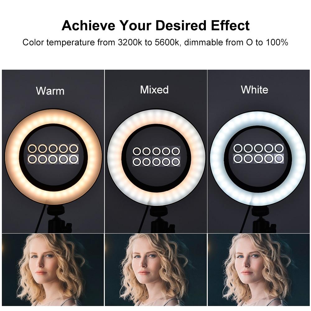 cheapest Selfie LED Ring Light Rechargeable Portable Clip Fill Light for Phone Tablet Video KQS8
