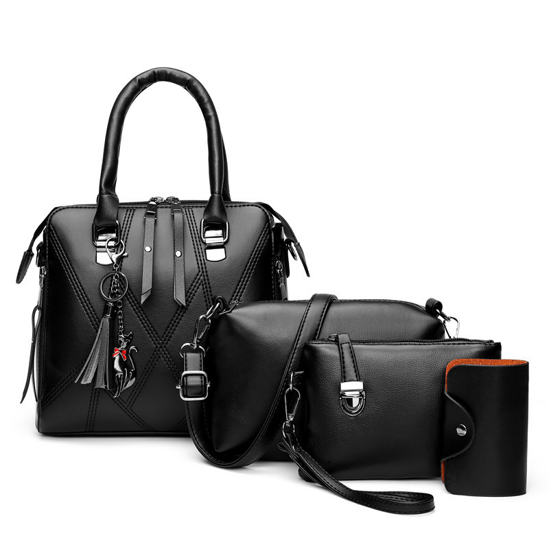 Composite Bags For Women High Quality Shoulder Bag Clutch Card Package Luxury Handbags Women Bags Designer 4 pcs set bolso mujer Top-Handle Bags  - AliExpress