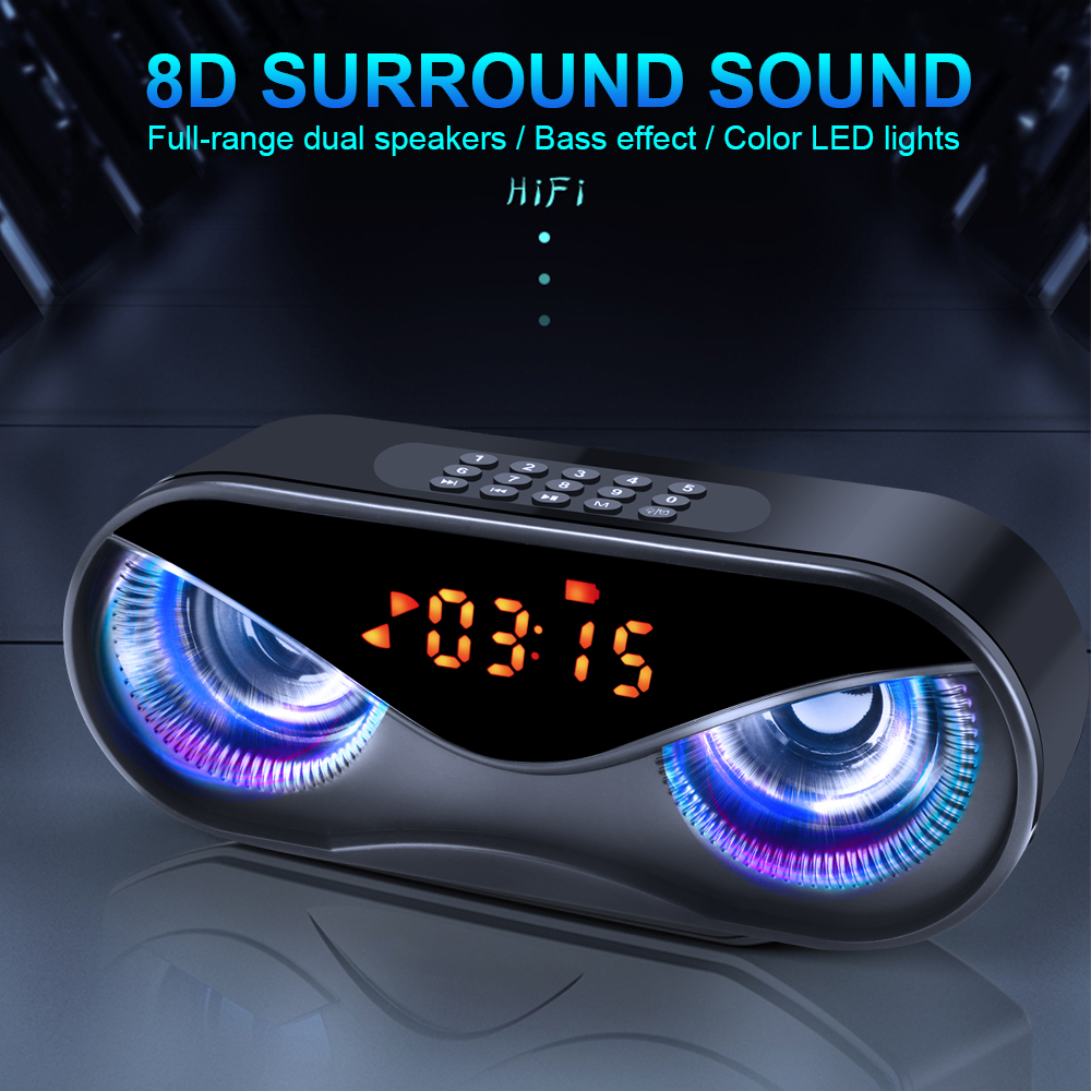 M6 Speakers Cool Owl Design  LED Flash Wireless Portable Bluetooth Speaker Support Select Songs By Number With FM Alarm Clock 1