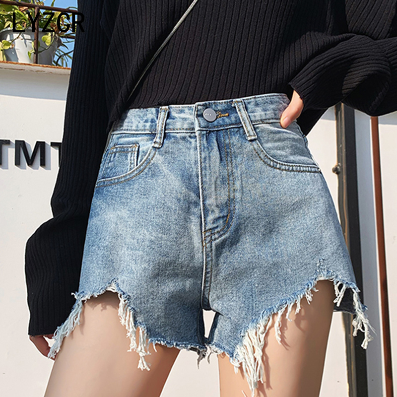 LYZCR Denim Women's Shorts Jeans High Waist Distressed Jean Shorts For Women Loose Denim Shorts Women Korean Style Short Femme