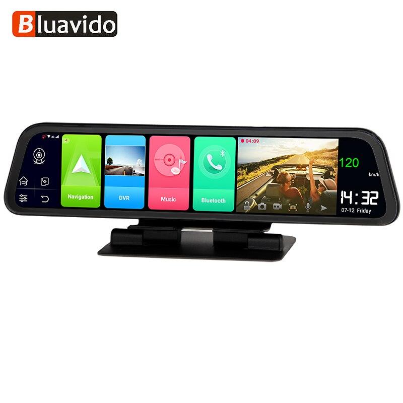Видеорегистратор Bluavido автомобильный на зеркало заднего вида, 12 дюймов, IPS, 4G, LTE, 2 Гб ОЗУ, Android 8,1, GPS-навигация, FHD 1080P